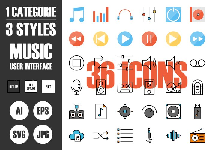 Music User Interface Icons