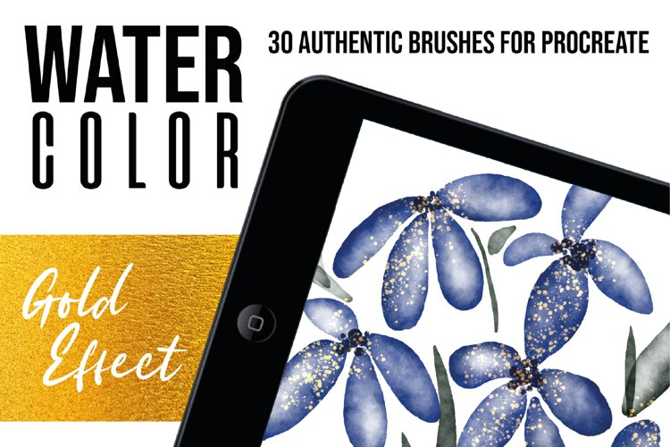 Procreate Watercolor Brushes with Gold Effect