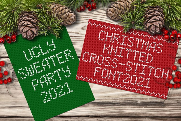 Christmas Knitted Cross-Stitch Font v1.0 example image 1