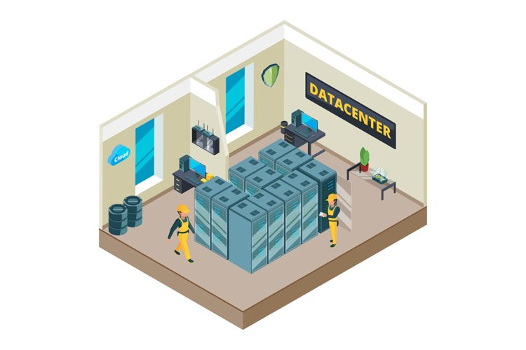 Isometric picture of interior of datacenter with specific eq example image 1