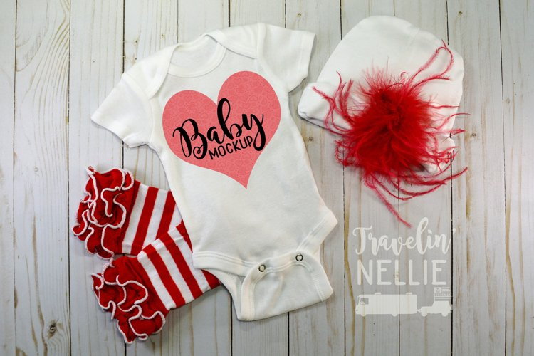 Baby Girl Fancy Theme White Blank Bodysuit Mockup Flat Lay example image 1