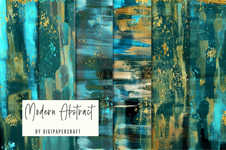 Teal and Gold Abstract Art, Digital download abstract print example image 1
