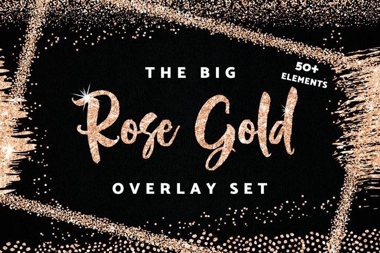 Rose Gold Glitter Confetti Frames Borders Overlay
