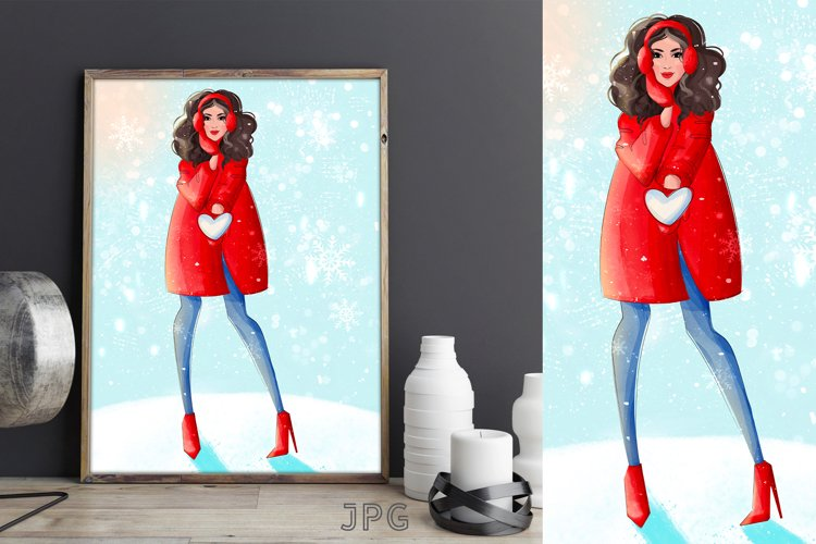 Christmas girl poster and postcard design with snow heart example image 1