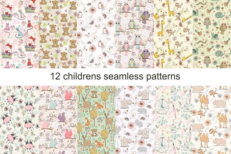Childrens seamless patterns example image 1