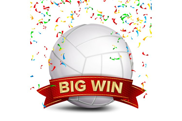 Volleyball Award Vector. Red Ribbon. Big Sport Game Win example image 1