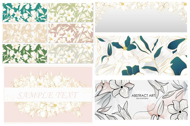 Vector banner with gold flowers