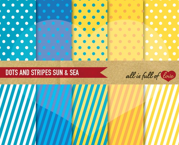 Sun and Sea Background Patterns Polka Dots and Stripes Digital Paper Pack in Blue and Yellow example image 1