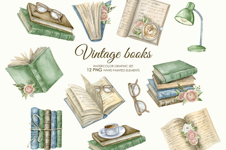 Watercolor vintage books clipart. Reading PNG