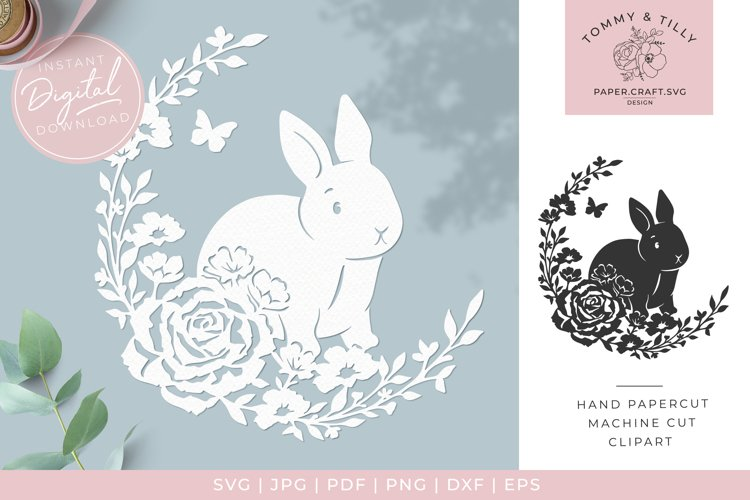 Rabbit Wreath - Butterfly SVG Papercut Cutting File example image 1