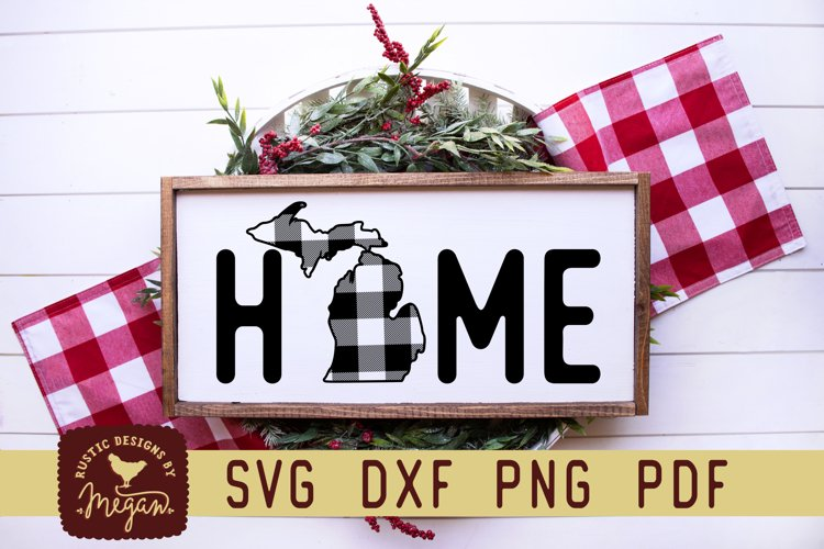 Michigan Buffalo Plaid State Home SVG DXF Cut File example image 1