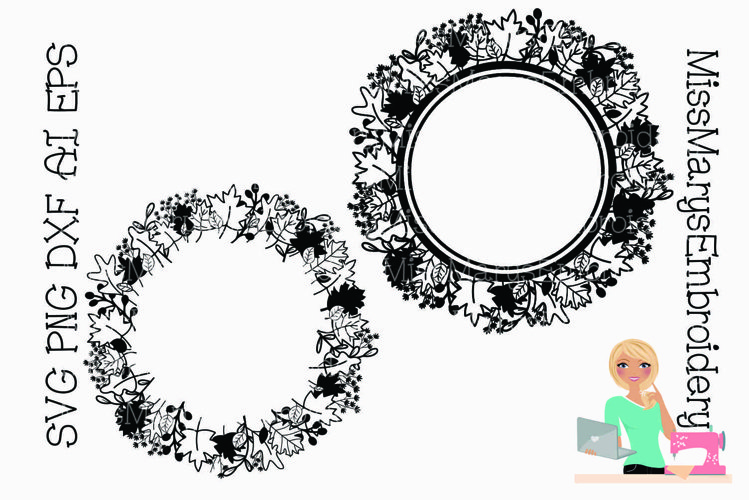 Leaf Monogram Wreath SVG |Leaves Monogram SVG |Fall SVG example image 1