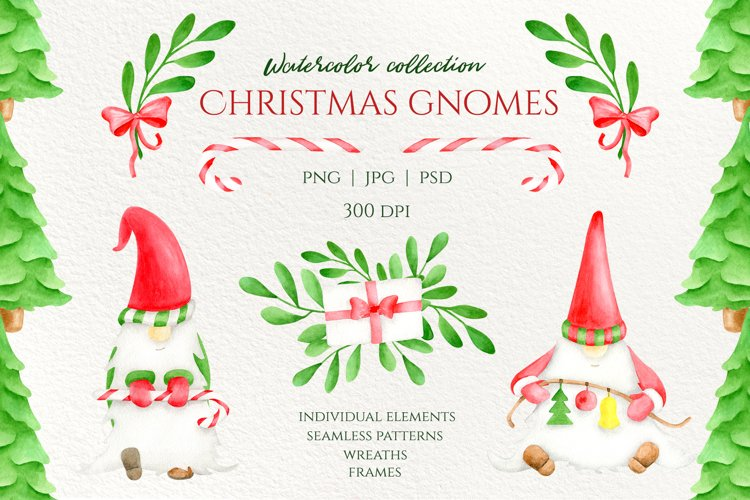 Watercolor Christmas Gnomes PNG clipart collection example image 1