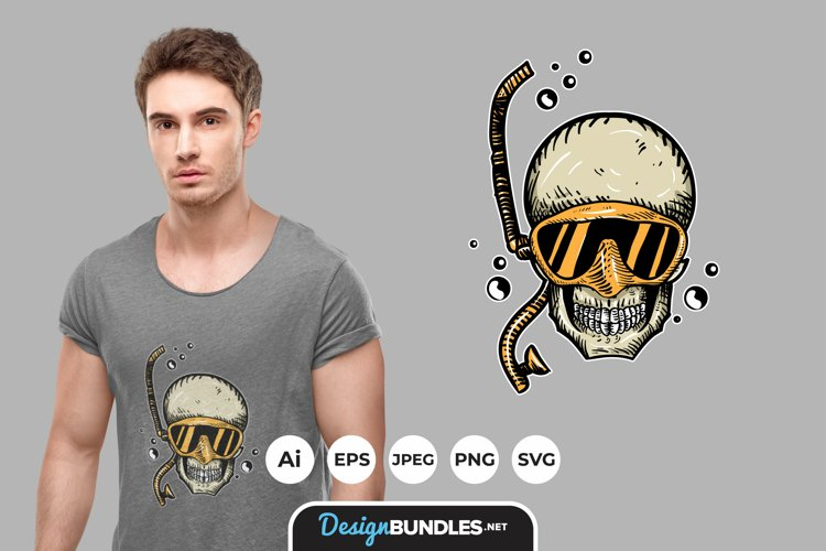 Diving Skull for T-Shirt Design example image 1