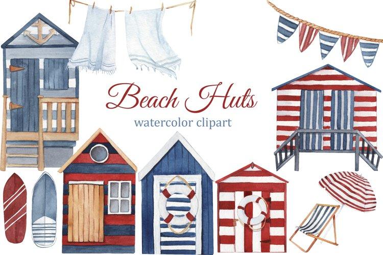 Watercolor beach huts, summer clipart, boho beach tiny house