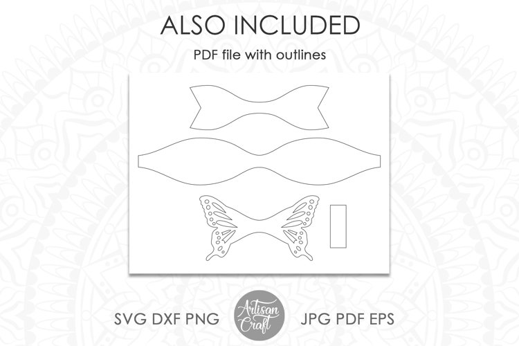 Butterfly bow template, SVG cut files example 1
