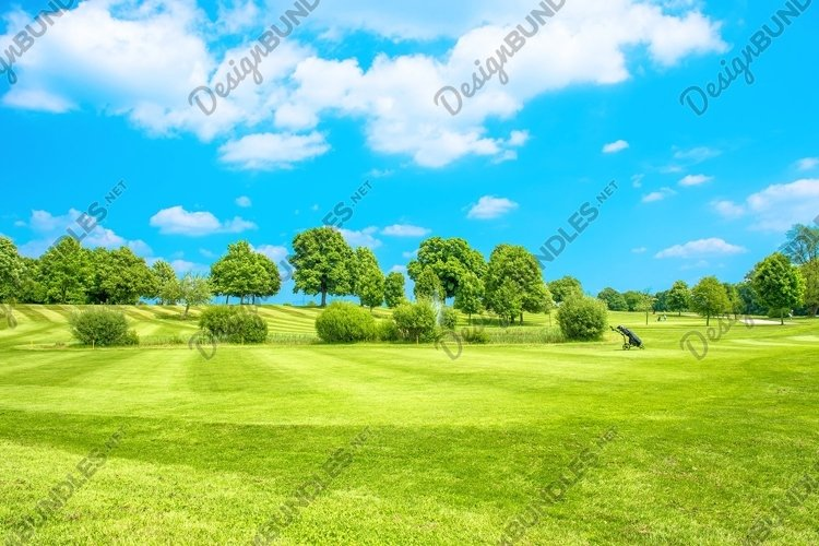Golf course Green field blue sky Landscape example image 1