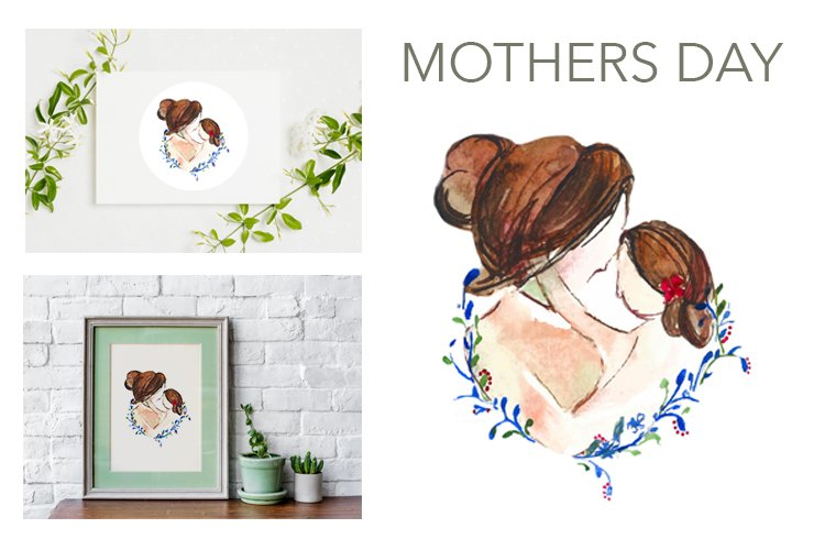 Mothers day portrait mom daughter spring watercolours cards