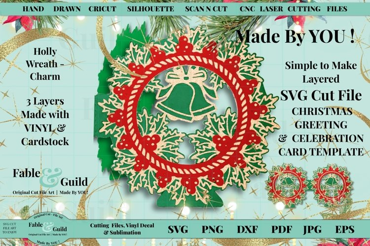 Layered Vintage Wreath SVG Christmas Card Decal 3D Cut File example image 1