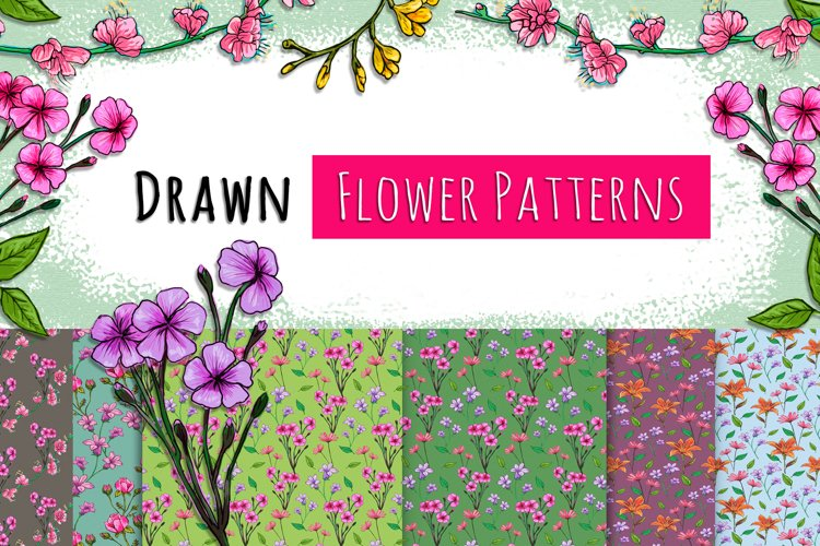 Drawn Flower Patterns and Elements
