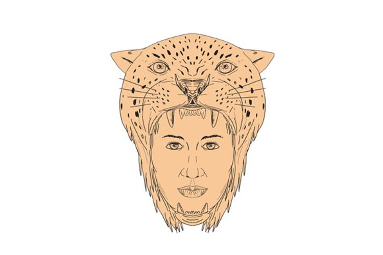 Female Aztec Warrior Jaguar Headdress Drawing example image 1