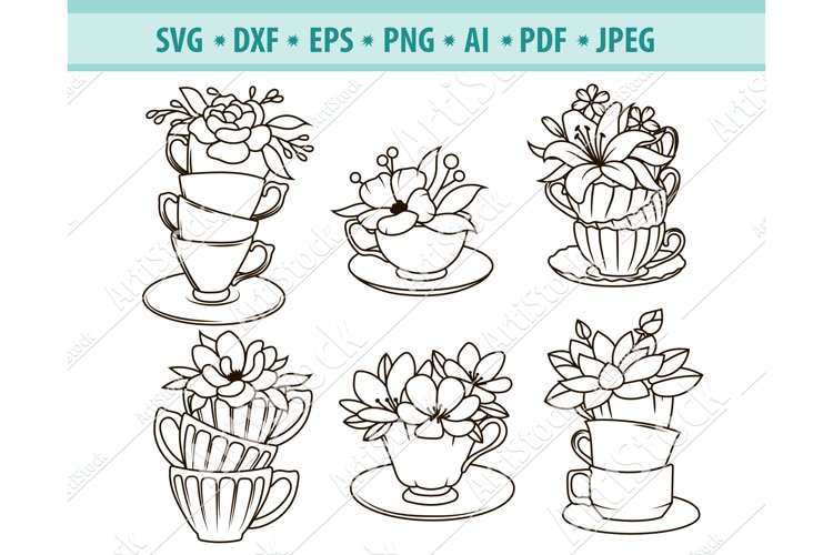 Flower Cup SVG, Coffee Cup SVG, Tea Cup Svg, Png, Dxf, Eps example image 1