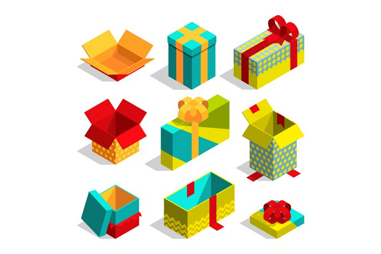 Different christmas box for gifts. Isometric pictures set example image 1