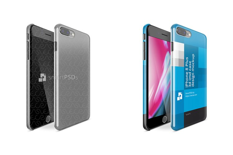 Apple iPhone 8 Plus 3d IMD Case Mockup 2017 Front-Back example image 1
