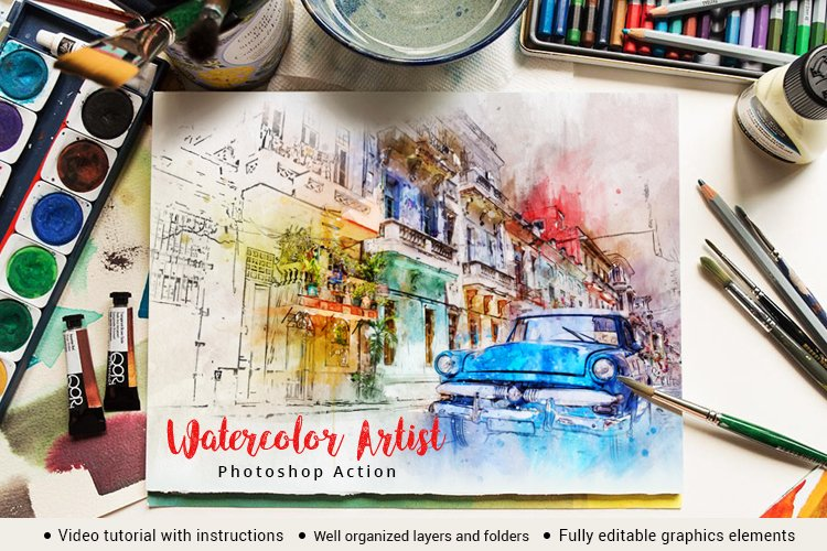Watercolor Artist Photoshop Action example image 1