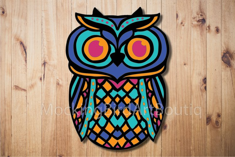 Colorful Owl Laser cut file example image 1