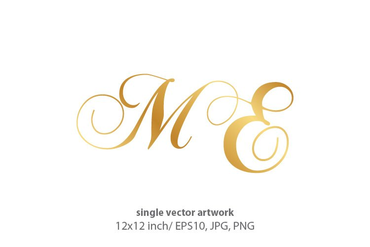 Calligraphic golden monogram letters M and E example image 1