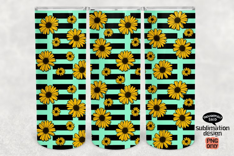 Skinny Tumbler Sublimation PNG, Sunflowers Black Stripes