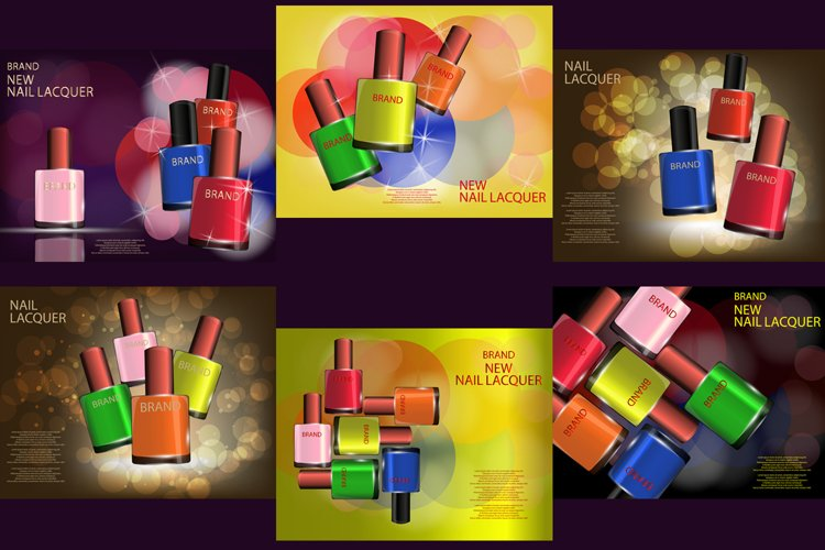 Colorful Nail Lacquer Glossy Bottles Realistic Vector Mock-up, template