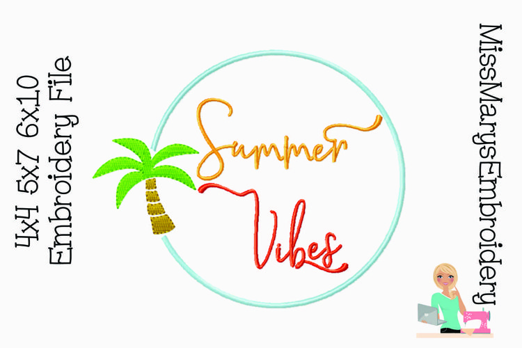 Summer Vibes Monogram Embroidery Frame | Embroidery Design