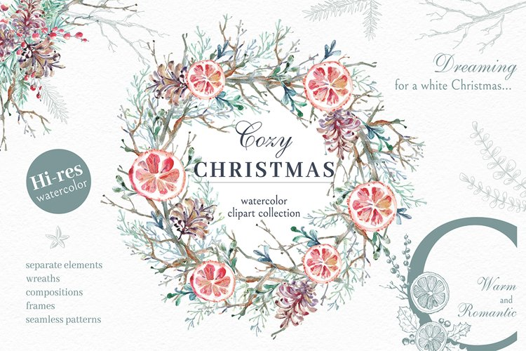 Cozy CHRISTMAS. Watercolor graphic kit.