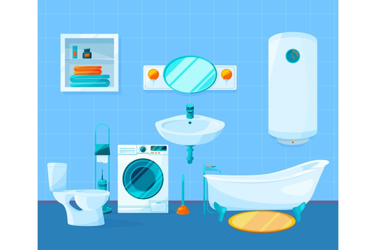 Modern clean interior of bathroom. Vector pictures in cartoo example image 1