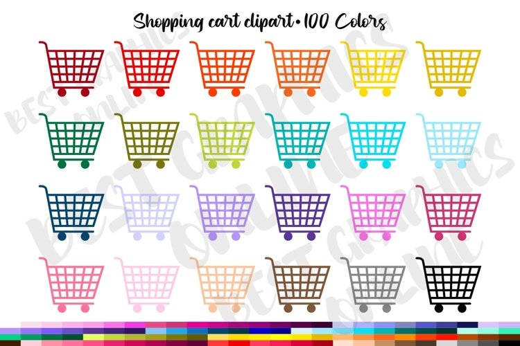 Shopping cart clipart, Grocery shopping trolley clipart