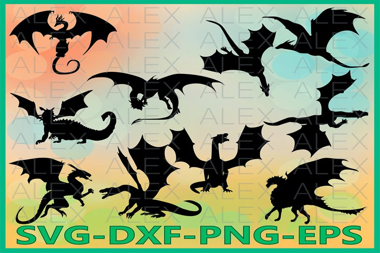 Dragon Silhouette SVG Files, Dragon Clipart Pack Svg Files