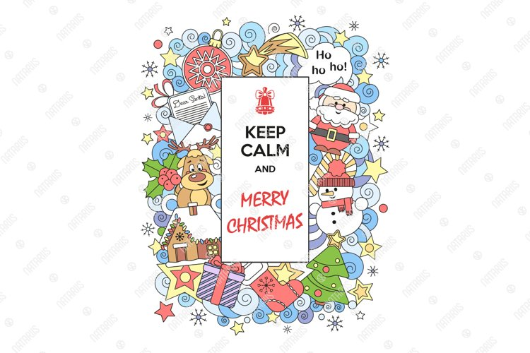 Keep Calm and Merry Christmas. Cute greeting card. example image 1