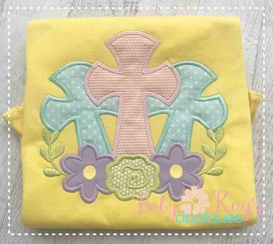 3 Crosses with Flowers Applique Design 4x4, 5x7, 6x10, 8x8