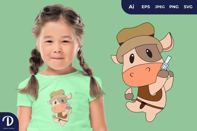 Cute Cowboy Animal Illustrations for T-Shirt Design