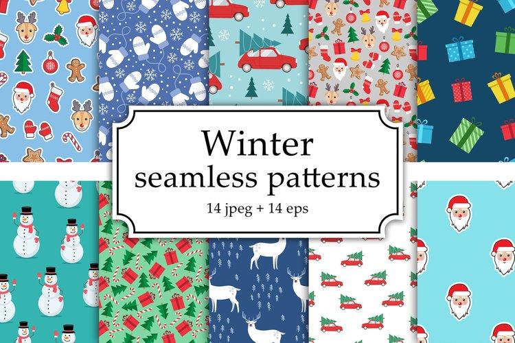 Winter Seamless Patterns Set