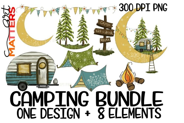 Camping Bundle One plus 8 elements - hand painted - 300 DPI example image 1