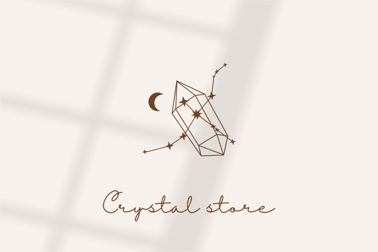 Logo design, logo template,moon and crystal, stars and zodi example image 1
