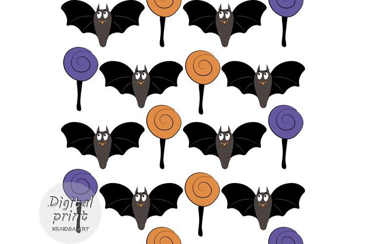 Halloween digital paper seamless pattern bats, candy example image 1