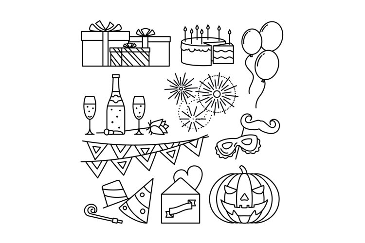 Celebration and party line icons example image 1