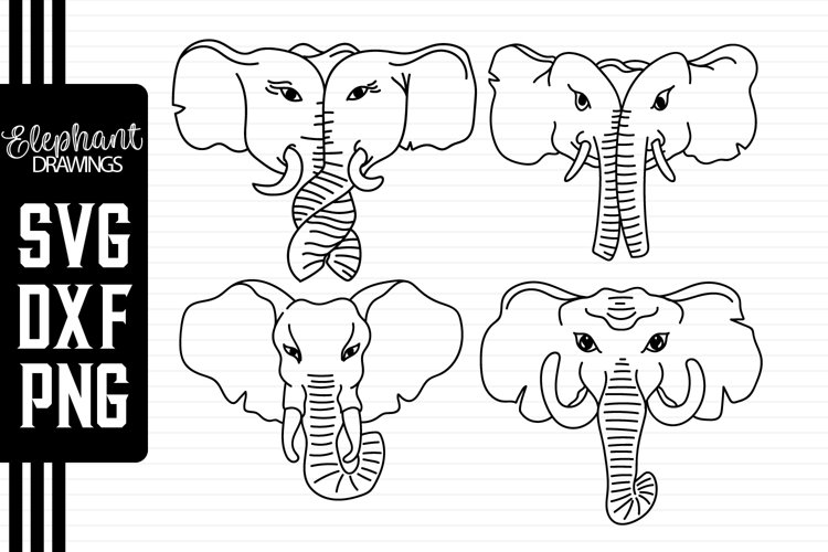 Elephant Cut Files - Elephant Couple - Elephant Drawings example image 1