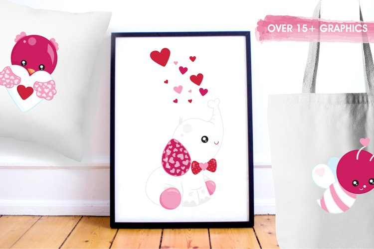 Valentine Animals graphics and illustrations - Free Design of The Week Design3