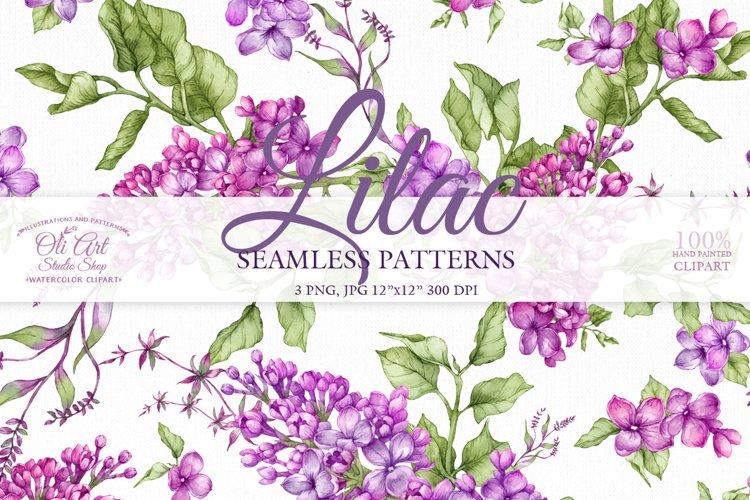 Watercolor Lilac Digital paper bag example image 1
