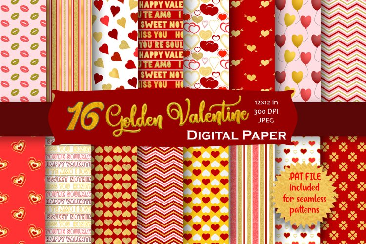 Gold Valentine Digital Paper Pack example image 1